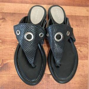 Tahari 'Aloha' black leather sandals